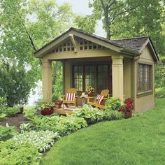 What an awesome idea: this started out as a 12x12 shed. They added the porch, salvaged cottage windows and split shingle roof.