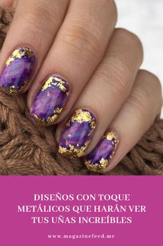 45 So Damn Sexy Purple Nail Art Designs Purple nail art designs look amazing on any nail length, so choose the design which matches well with your lifestyle. Women who always look for new nail art Nail Art Violet, Purple Nail Art, Purple Chrome Nails, Foil Nail Designs, Marble Nail Designs, Funky Nail Designs, Hair And Nails, My Nails, Nail Design Glitter