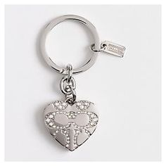 COACH PAVE SIGNATURE C HEART LOCKET SILVER KEY RING, CHAIN, FOB-NEW