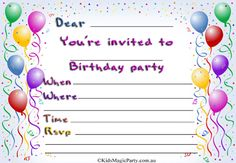 Get Birthday Party Invitations Free