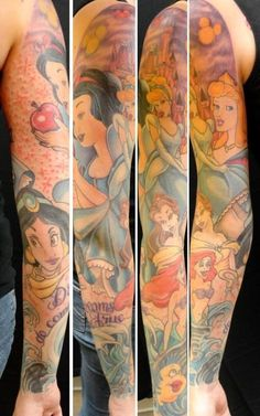 AMAZING Disney sleeve by THERAPY INK I want this if I decided to get a full sleeve.