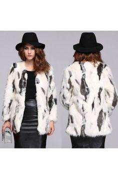 a4c81690c4a62 New Women  s Fashion Elegant High Quality Faux Fur Long Sleeve Warm  Thickening Jacket
