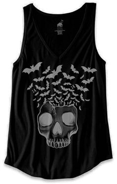 Womens V-Neck Tank - Skull with Flying Bats - Black - #infectiousthreads