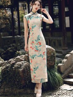 Shop 2021 Summer Floral Print Maxi Cheongsam Qi Pao Dress at imallure.com. A wide collection of high quality qipao & cheongsam in various style. New arrivals daily. FREE INTERNATIONAL SHIPPING. Custom Made Clothing, Cheongsam Dress, Mandarin Collar, Blue Lace, Floral Prints, Collection, Dresses, Summer, Shop