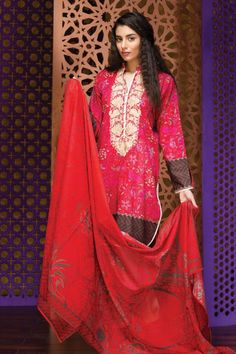 khaadi Eid Lawn Collection Unstitched 2 Piece Suit M16303 B in Red. #LawnCollection #EidCollection2016