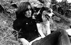 George in April 1969 on holiday in Wales with Shep the dog.