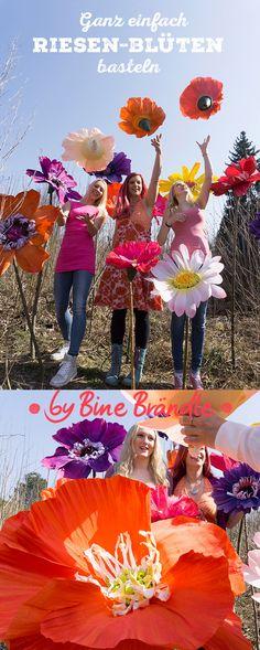 """Eine gigantische DIY-Idee! Riesengroße Blüten aus Floristen-Krepppapier ganz einfach selber basteln. Eine fantastische Dekoration für Partys, Schaufenster, oder als Fotorequisite. Idee und Anleitung aus dem Buch: """"Meine bunte Bastelwelt"""", von Bine Brändle"""