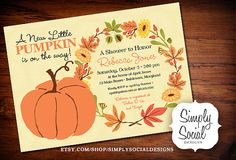 Autumn Fall Pumpkin Baby Shower Invitation  PRINTABLE
