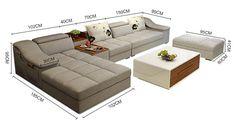 Modern Living Room L Shaped Sectional Sofa With Ottoman Couch Design, Living Room Sofa Design, Cozy Living Rooms, Living Room Furniture, Living Room Designs, Living Room Decor, Kitchen Furniture, Latest Sofa Designs, Sofa Set Designs