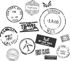 Wall decal for over my desk- Assorted Postmarks from around the world