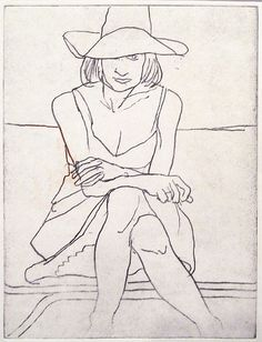 Richard Diebenkorn Phyllis Wearing a Sundress and a Wide-Brimmed Hat, 1962. Soft-ground etching. Crown Point Press. de Young Museum