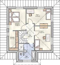 Art 155 - mediterraner Stadtvilla Grundriss mit über 150 qm Wohnfläche mit Obergeschoss Variante