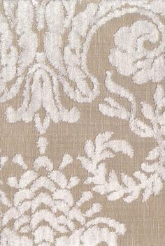 Ombrione Fabric Raised leaf design in off white velvet on natural cloth