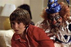 """On Thursday, August Oliver Robins dropped by New Beverly Cinema to talk about the making of """"Poltergeist."""" Robins played Robbie Freeling, the boy who was terrified of that weird looking t… Horror Villains, Poltergeist Movie, Movies, 1980s Horror Movies, Scary Movies, Scary Clown Movie, New Beverly Cinema, Scary Clowns, Poltergeist 1982"""