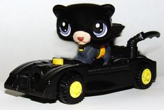 Littlest Pet Shop Batman Bat Dog Batmobile Superhero Custom figure LPS OOAK #Hasbro