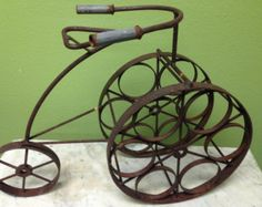 Vintage 1950s Tricycle Wine Rack Six Bottle Wine Rack Yard Art Steampunk Home Decor FREE SHIPPING!