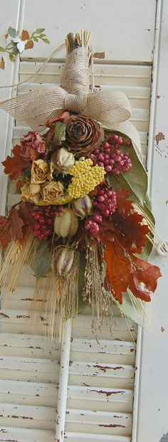Fall Dried Flower Arrangement Bouquet. $17.00, via Etsy.
