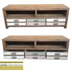 NEW - Rustic Shabby Sunny Range Elm Timber Colourful 3 Drawer Entertainment Unit Furniture, Wood, Timber, Entertainment Unit, Wood Plans, Wood Projects, Corner Unit, Home Decor, Lounge Room