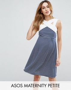 54a6564064 ASOS Maternity PETITE Stripe Mini Skater Dress with Contrast Neck Detail  Petite Maternity Dresses