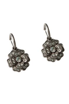Flower Crystal Earrings In Black.