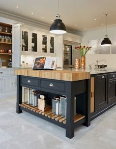 This black and grey kitchen features statement island with integrated oak chopping block and bespoke kitchen dresser for all your kitchen storage needs. Black And Grey Kitchen, Grey Painted Kitchen, Kitchen Paint, Home Decor Kitchen, Rustic Kitchen, New Kitchen, Kitchen Interior, Awesome Kitchen, Kitchen Grey
