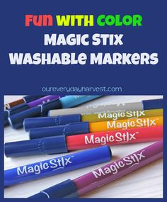 Magic Stix Washable Markers are non-toxic, odorless, offer an assortment of different hues in bright and bold colors, and come in a convenient carrying case.