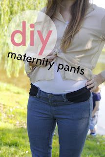 Good DIY Maternity Clothes Future pregnancy.  Great Idea!  I only had one pair of pants that actually fit and adding a little stretch around the middle to existing pants would be perfect
