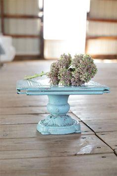 Aged Turquoise Metal Tray Pedestal