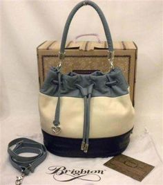 Brighton Brody Drawstring Bucket Bag H3414D Denim Blue White Navy Color Blocked  Leather NWT