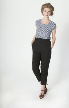 Blue Gingham Organic Cotton Sleeveless Shell Top // Black Cotton High Waisted Pleated Trousers [brm 2015]