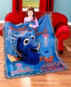 Everyone will love cuddling up in this Finding Dory Tapestry Throw while enjoying the movie. The colorful throw features favorite characters Dory and ...