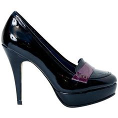 Dita Black and Purple Patent Leather Platform Pumps (50 PAB) ❤ liked on Polyvore featuring shoes, pumps, black high heel pumps, high heel platform pumps, high heel platform shoes, black platform shoes and black platform pumps