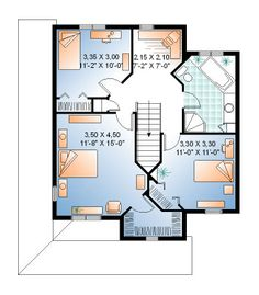 Second Floor Plan of Country   House Plan 65295
