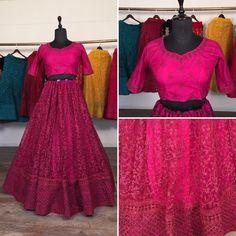 Pink net glitter zari embroidery work lehenga choli
