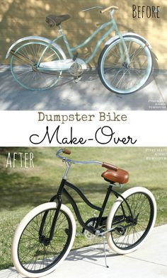 New life for an old beach cruiser! DIY black and cream bike make-over.
