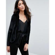 Club L Velvet Blazer (1.235 RUB) ❤ liked on Polyvore featuring outerwear, jackets, blazers, black, blazer jacket, velvet jacket, party jackets, club l and maxi jacket