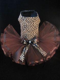 Couture Sassy Leopard Girl Dog Tutu Dress SMALL  _ Dog Clothes #HandMade _ www.ebay.com/usr/kim_0305