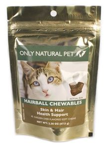 """These tasty soft chew """"treats"""" reduce the occurrence of hairball formation by supporting healthy skin, coat and digestive functions at $7.99  http://www.bboescape.com/products/buy/150/pet-products/Only-Natural-Pet-Hairball-Chewables-Soft-Chews"""