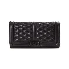 REBECCA MINKOFF Love Clutch leather bag (400 CAD) ❤ liked on Polyvore featuring bags, handbags, clutches, black, rebecca minkoff, leather purse, genuine leather purse, genuine leather handbags and chain strap purse