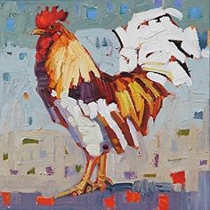 Rooster # 1 by Rene' Wiley by René Wiley Gallery Unenhanced Giclée ~ inch or any square up to x Rooster Painting, Rooster Art, Chicken Painting, Chicken Art, Art And Illustration, Evans Art, Farm Art, Bird Artwork, Galo