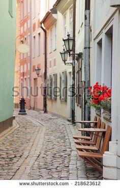 Narrow street in Riga Latvia