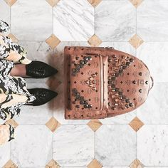 Geometries 🔸▪️🔸 #mclabels #mclabestyle #mclook #fashion #mcm #backpack #ootd #leather #studs #marble #flowers #orange #white #colors #style #skirt #summer #gold #black #pointedshoes #mcmbackpack #shopnow