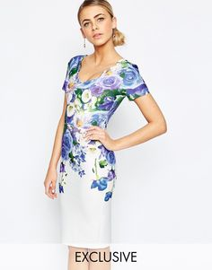 Image 1 ofHope and Ivy Floral Pencil Dress With Scallop Neck