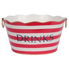 Hand-painted drinks tub with red striping and contrasting trim.Product: TubConstruction Material: MetalCol...
