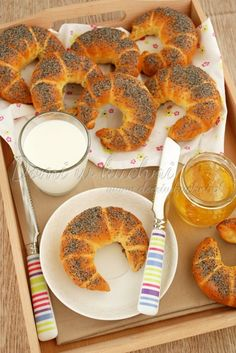 Bread Recipes, Cooking Recipes, Baking With Kids, Polish Recipes, Holiday Desserts, Bagel, Food Hacks, Rolls, Food And Drink