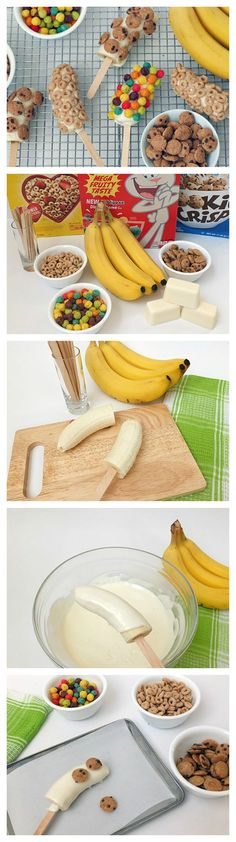 Bananas coated with vanilla candy bark and cereal!