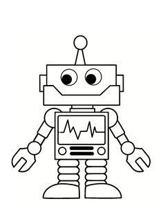 schwarzweiss-valentinstag-roboter mit bildern   kinder malbuch, malvorlagen für kinder, kinder