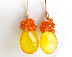 Yellow Chalcedony Earrings Orange Carnelian Wire Wrapped 14k Gold Fill Teardrop Gemstones, Handmade Jewelry by Sonja Blume