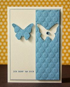 """Beautiful """"Thinking Of You"""" Butterfly Card...using a positive/negative technique. So simple yet so elegant. Scrapperia."""