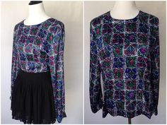Christie & Jill Blouse |  Vintage 80s Blouse | VTG Blouse | 1980s Top | Geometric Pattern | Purple Blouse | Vintage Purple Top | Large Top